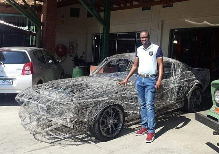 South African man Hand-builds Replica of 1967 Ford Mustang Entirely Out Of Wire.