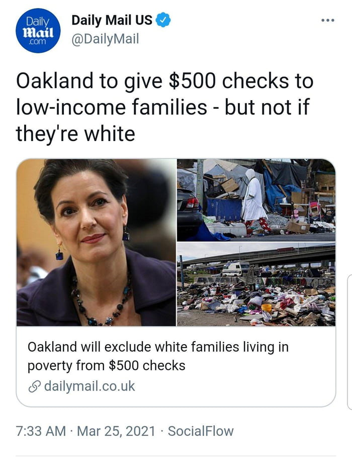 Ah yes white people in poverty are not actually poor. Big brain time