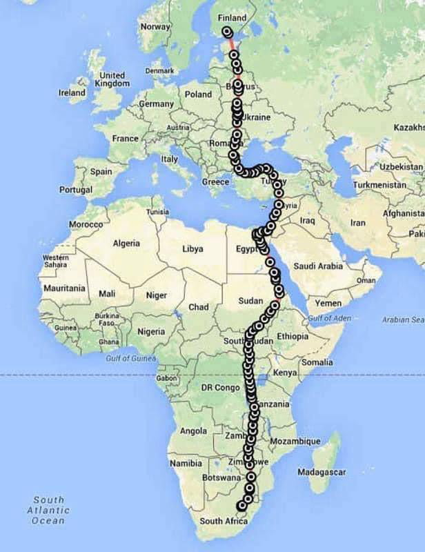 A female falcon was equipped with a satellite tracking system in South Africa before migrating to Finland. Image shows tracker data. In just 42 days, she flew over 10.000 km, at an incredible average of 230 km per day and nearly in a straight line.