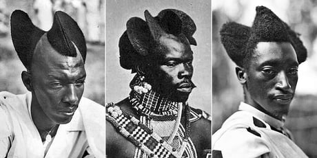 Amasunzu. This is the name of the traditional Used for centuries hairstyle of the inhabitants of African Rwanda.. Picture show how amazing the traditional Rwandan hairstyle was.