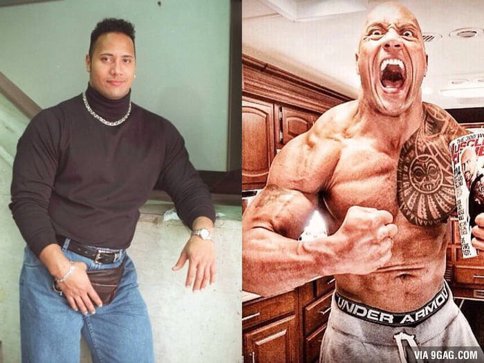 The Rock in The 90's vs. The Rock today...