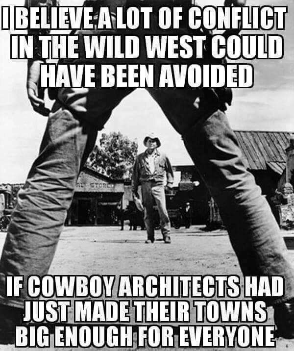 Imagini amuzante si haioase - Stupid cowboy architects.