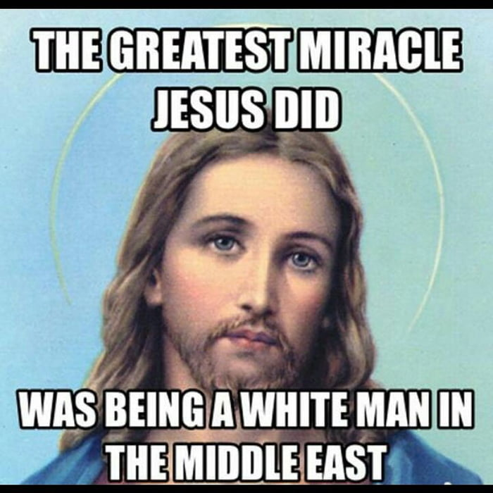 Why is there an image of an European white man with long hair representing a Jew named Jesus?