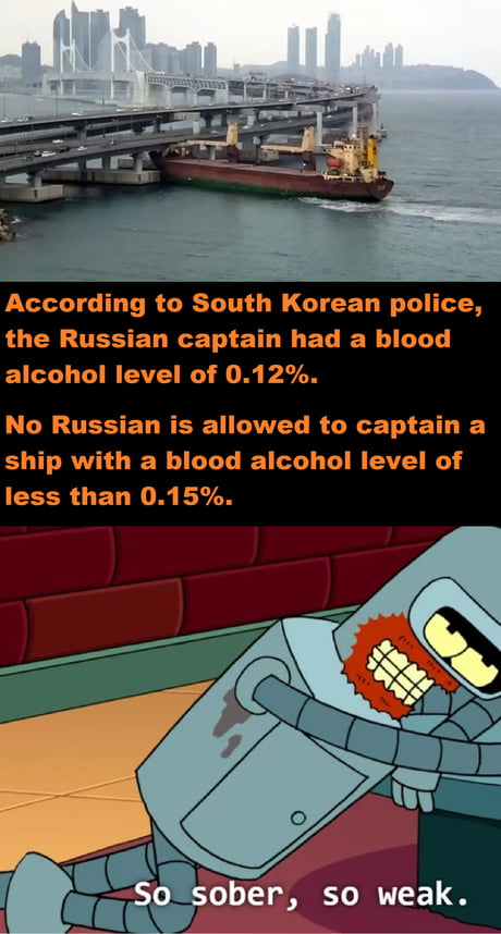 The Captain's low blood alcohol level was without a doubt the cause of the collision.