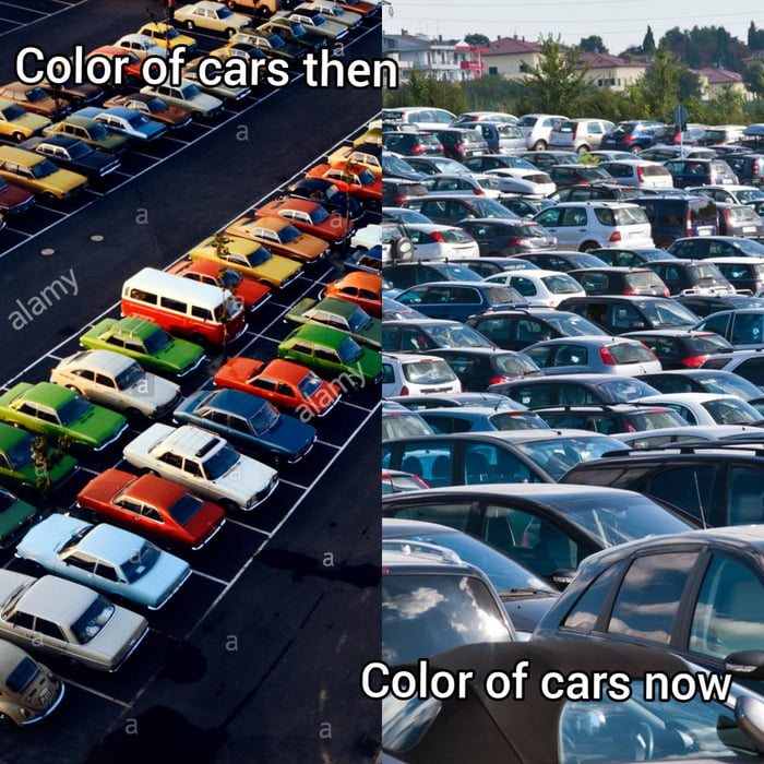 I think it's sad that cars nowadays mostly come in gray, black ir white.