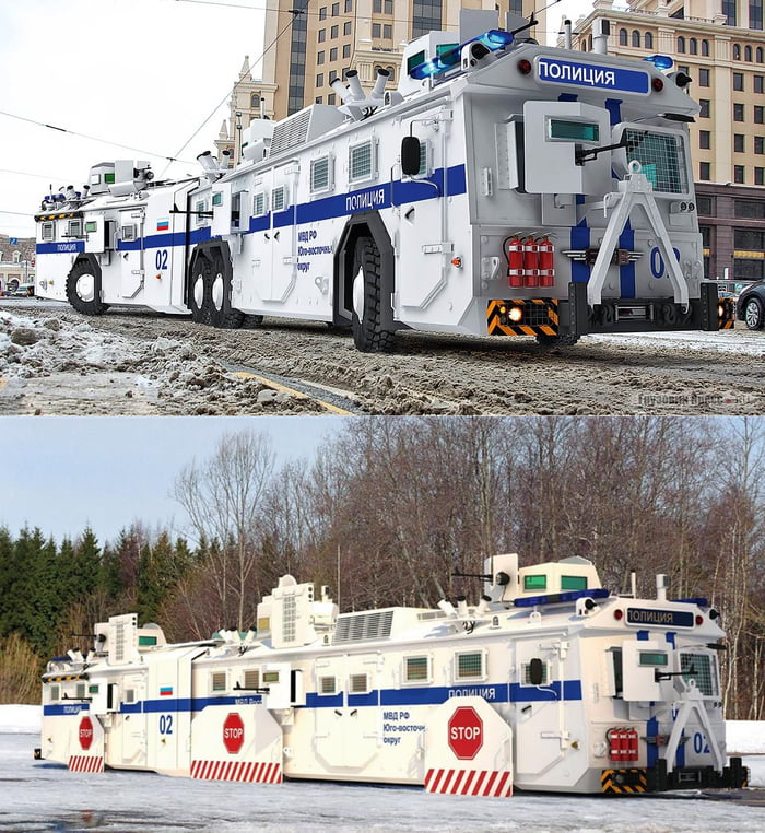 """Russian """"fortress on wheels"""", armored bus-tank-train with machine guns and gas-grenade launchers. This is NOT FOR THE ARMY, but for the police in case of protests and rallies."""