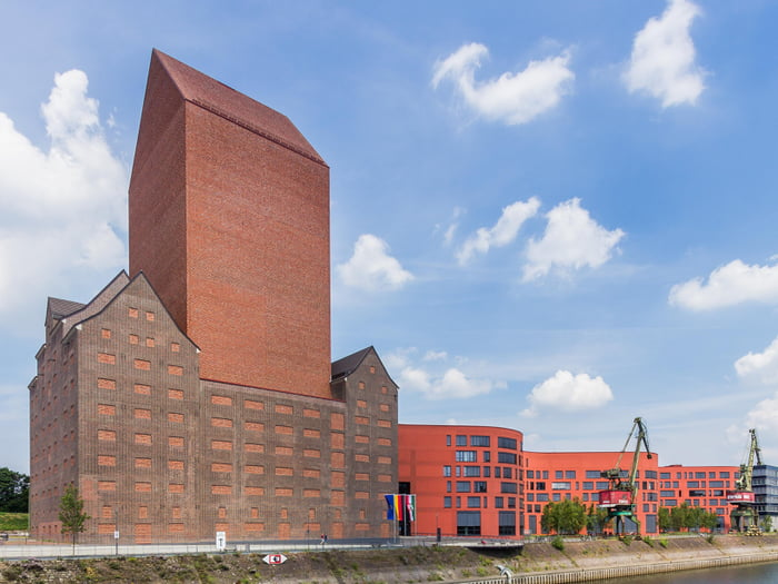 The German State Archives in Duisburg, a 23-story building that doesn't have a single window (to protect the paper documents from sunlight).