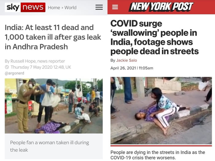 New York Post using old pics from India.