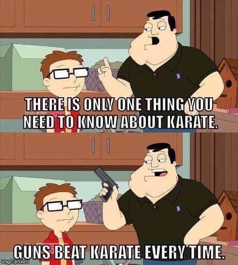 Guns beat karate