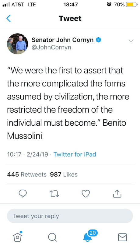 Texas Senator quotes Mussolini for some unknown reason.