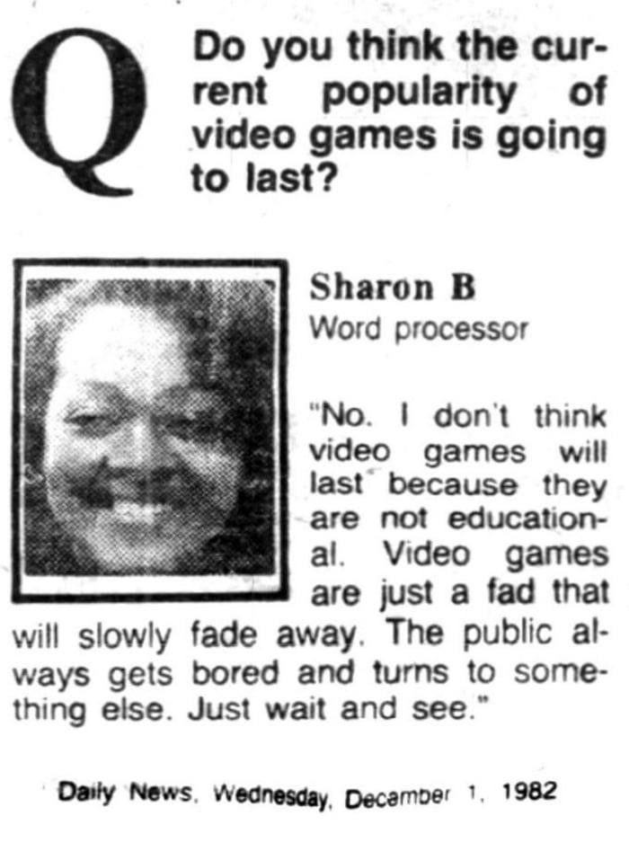Opinion on video games in 1982