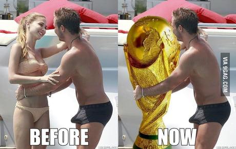 Gotze gozando la copa del mundo.