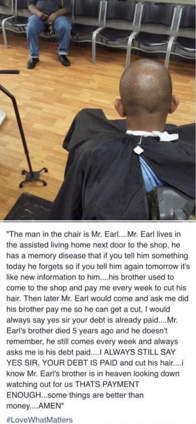 Barber being an absolute bro to a client with a memory problem