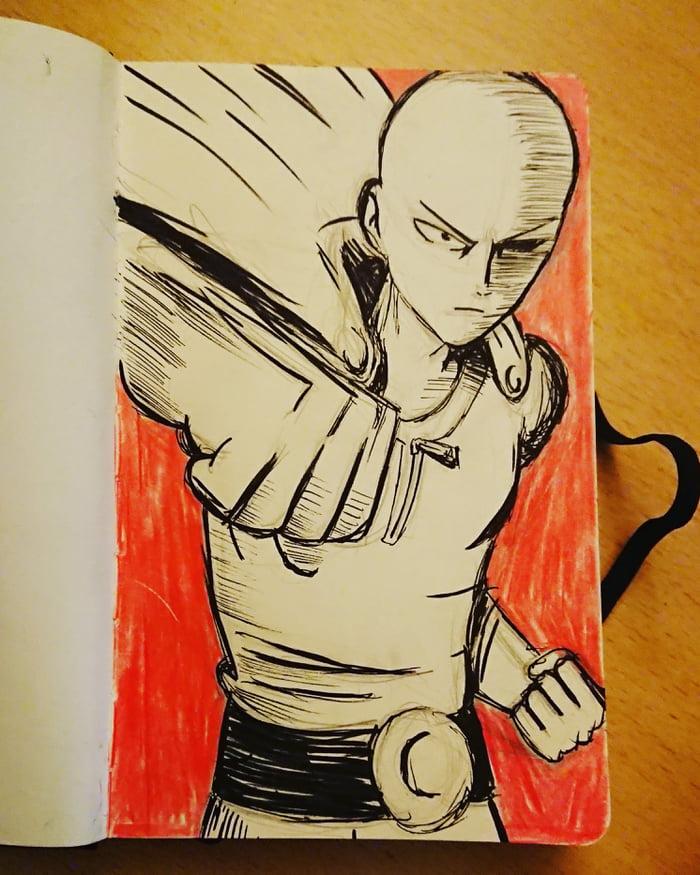 Imagini amuzante si haioase - Saitama ink drawing