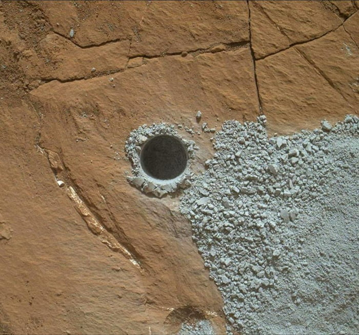 A hole drilled on Mars