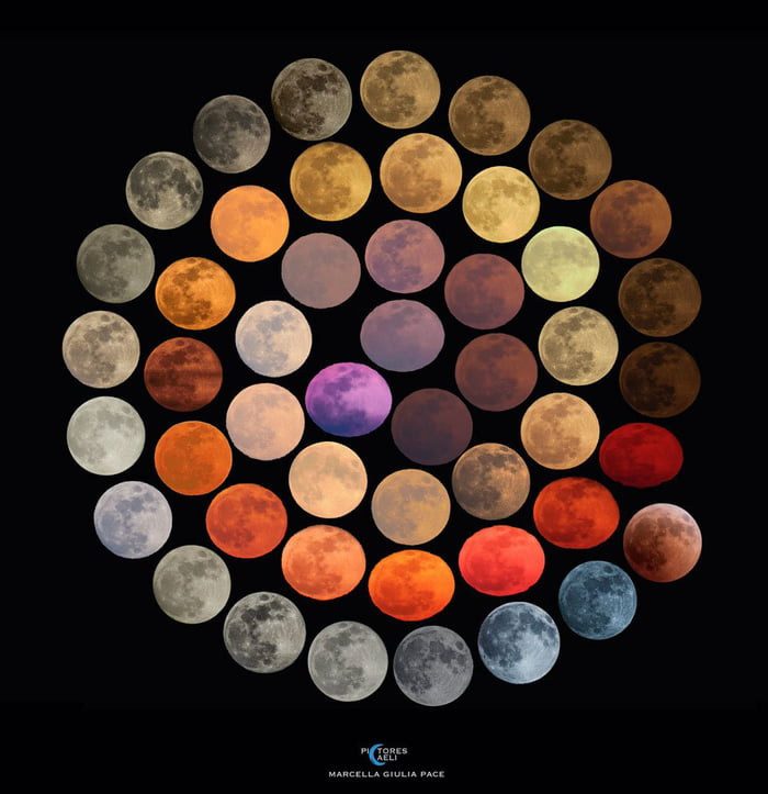 48 different colors of the moon, all photographed in a time span of 10 years.