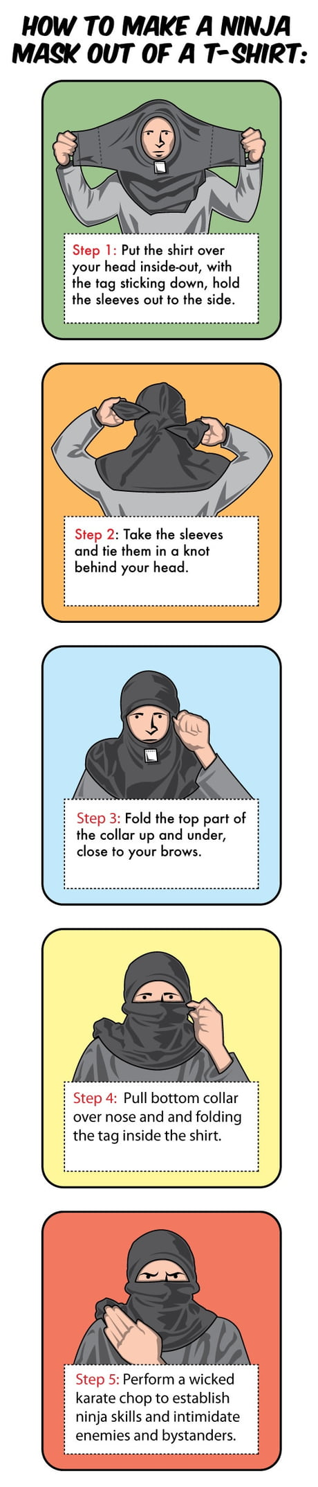 How To Make A Ninja Mask Out Of A T Shirt In Just 5 Easy Steps 9gag
