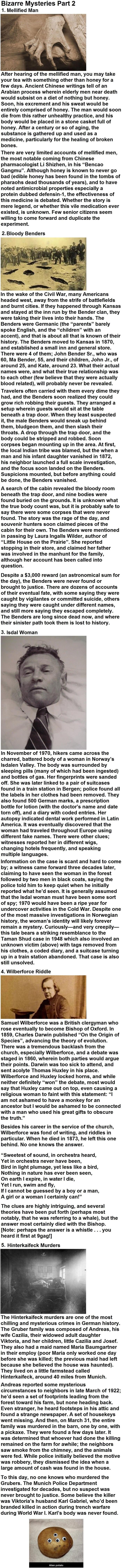 Bizarre Mysteries Part 2