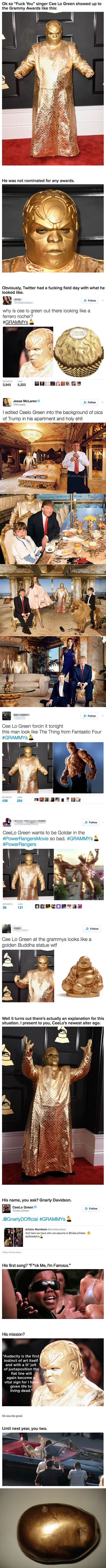 CeeLo Green Basically Asks To Be A Meme In Full Gold At The Grammys