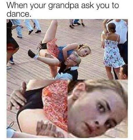 As crianças adoram dançar com o vovô