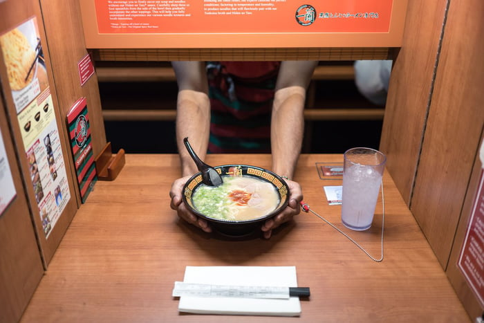 In Japan, some restaurant is really private, You are sitting in a corner, where no one sees you, a sluice opens in front of you, the chef's hands come out and it serve you without looking.