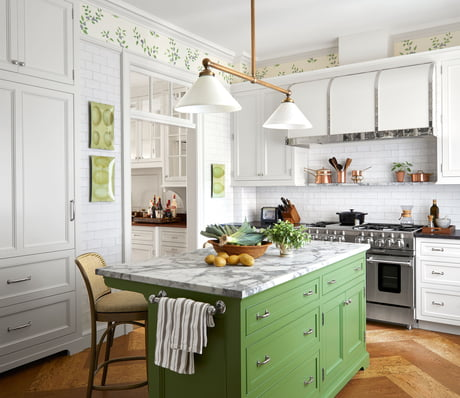 White Subway Tiled Kitchen With A Green Island In An Upper East Side Apartment Manhattan New York City 9gag