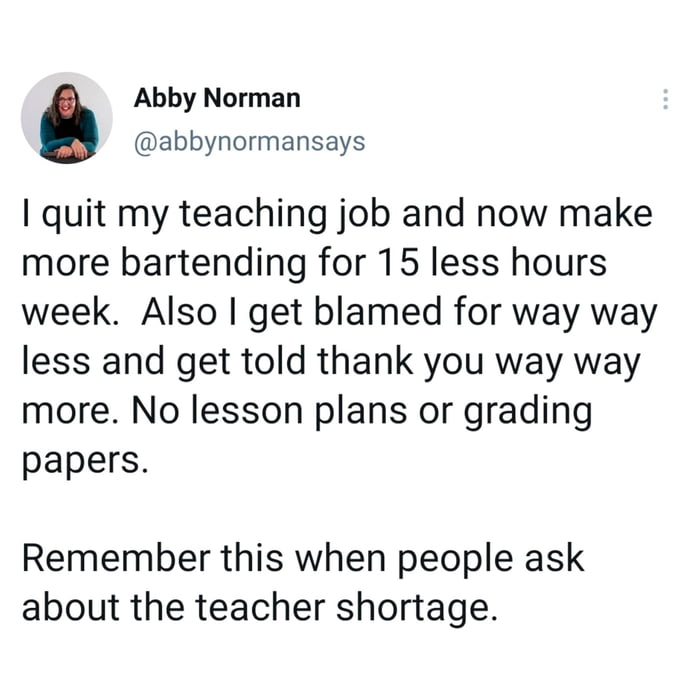 Teaching vs Bartending