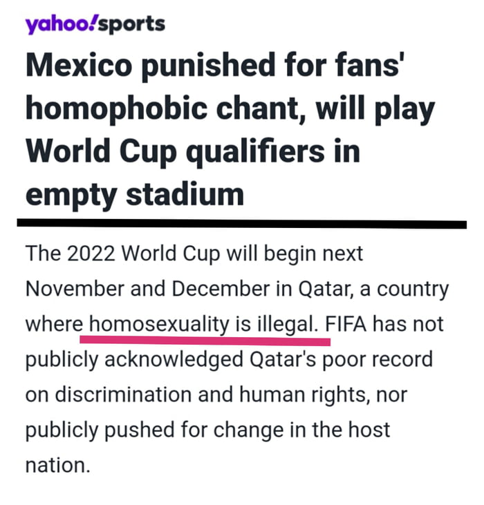 Your daily dose of hypocrisy is brought to you by FIFA