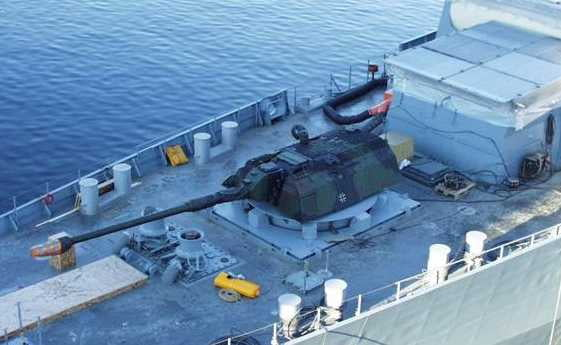 The German military had an experiment called Modular Naval Artillery Concept (MONARC) where they literally just slapped a tank turret on a boat.