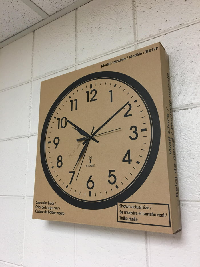 "Used the gut from a broken clock and a new clock box to ""make"" a new clock."