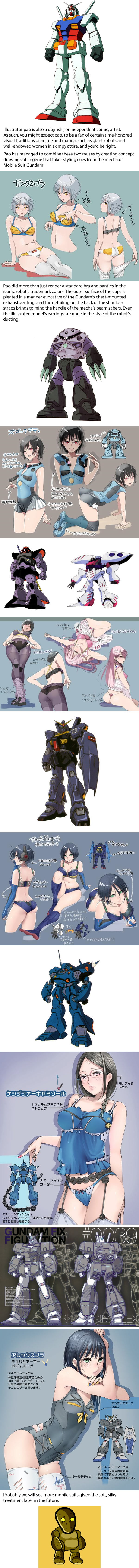 Illustrator reimagines the anime robots of Mobile Suit Gundam as a line of sexy lingerie arts  Arts Anime