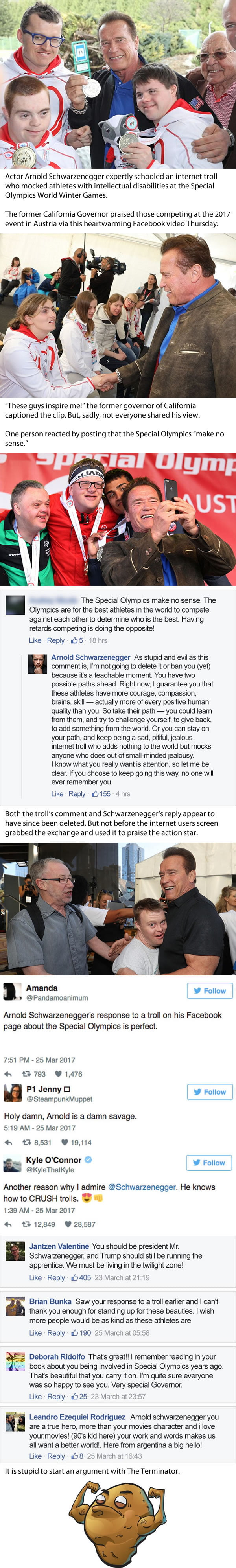 Arnold Schwarzenegger Shuts Down Troll For Mocking Special Olympics