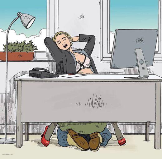 Um dos benefícios de ter seu próprio escritório no trabalho ... e um amante aventureiro.