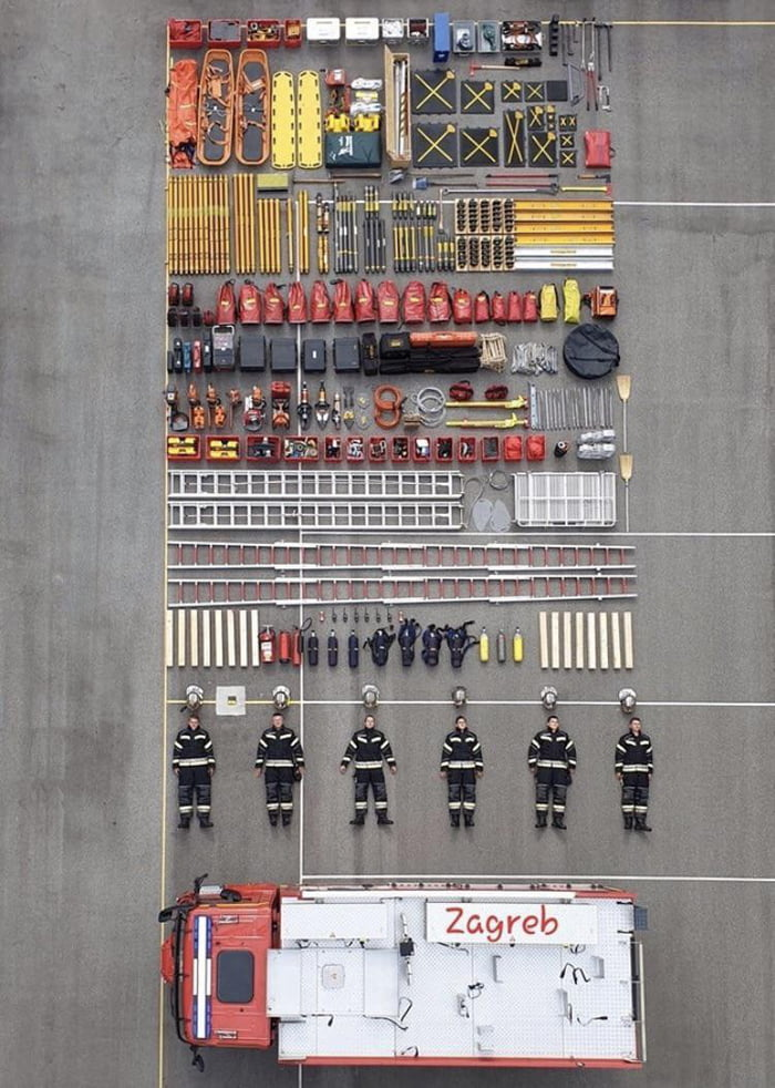 The contents of a single fire truck