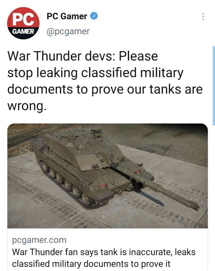 Mad lad fans leak military documents to prove tanks are wrong.