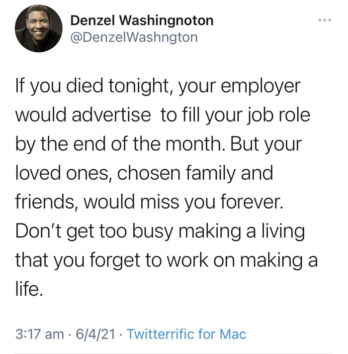 Some wise words from Denzel