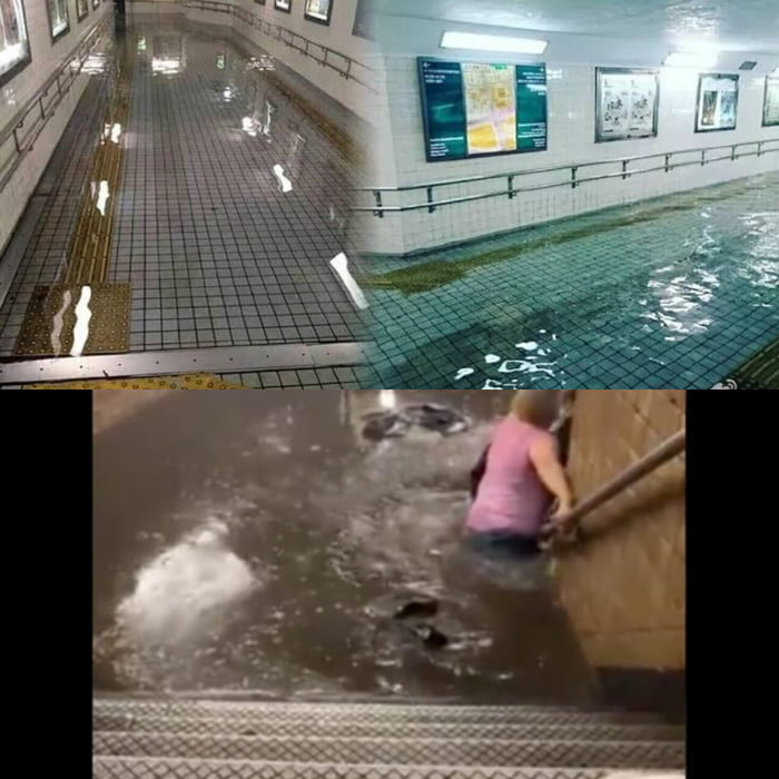 Flooding in Tokyo subway vs flooding in NYC subway