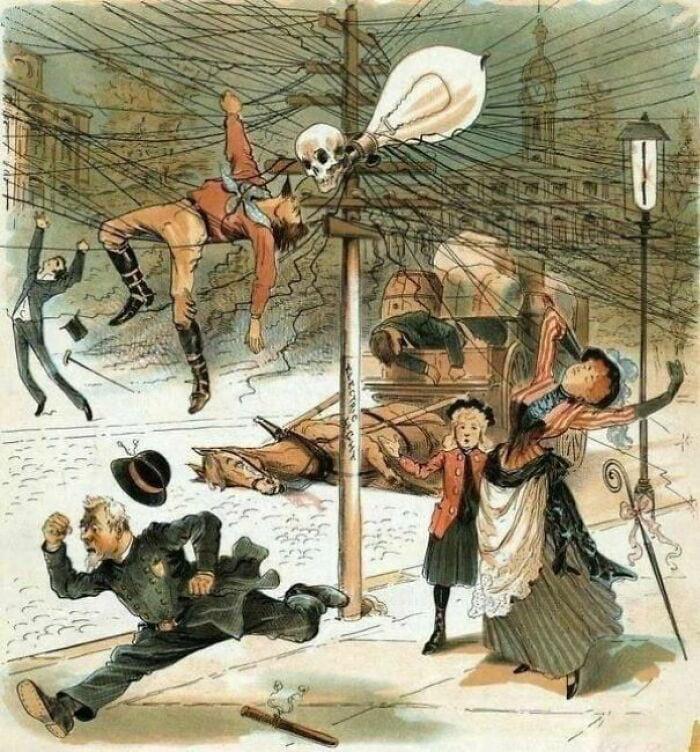 Anti electricity propaganda from 1900s.