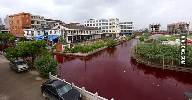 So this river in China turned to RED this morning!