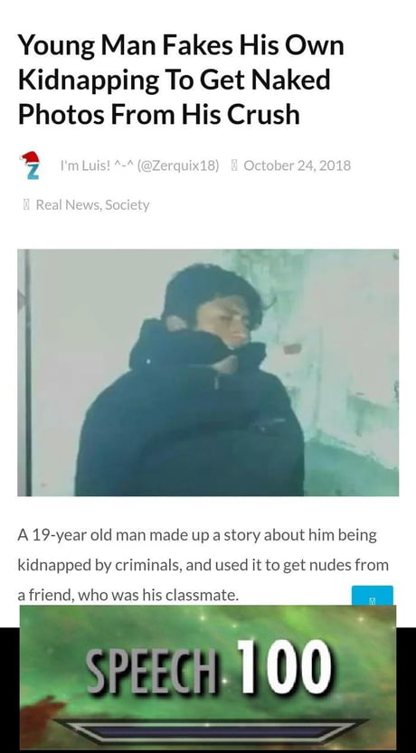 Man fakes kidnapping to get naked pics from girl Fixed It 9gag