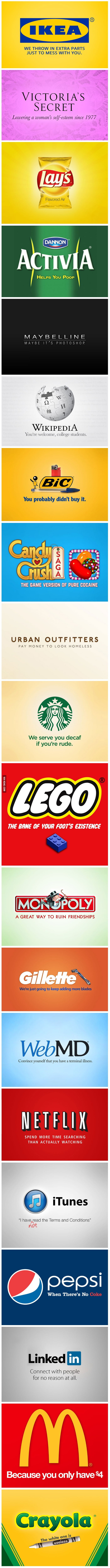 Honest Slogans.  Is this what Brands should really be saying ?