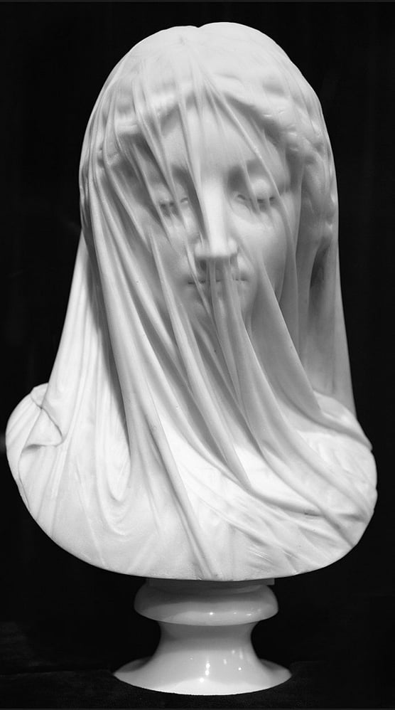 The Veiled Virgin by Giovanni Strazza, The Veil Gives the Appearance of Being Translucent, but in fact It Is Carved of Marble.