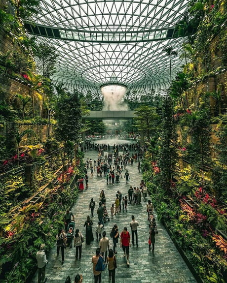 Singapore's new Changi Airport, considered as the best airport in the world even has its own indoor waterfall.
