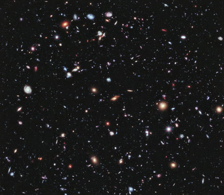 Hubble deep Field. A photo of about one 24-millionth of the night sky. You're seeing an estimated 10,000 galaxies, all of which contain roughly 100 thousand million stars, with each star looking after its own solar system. We're pretty small.