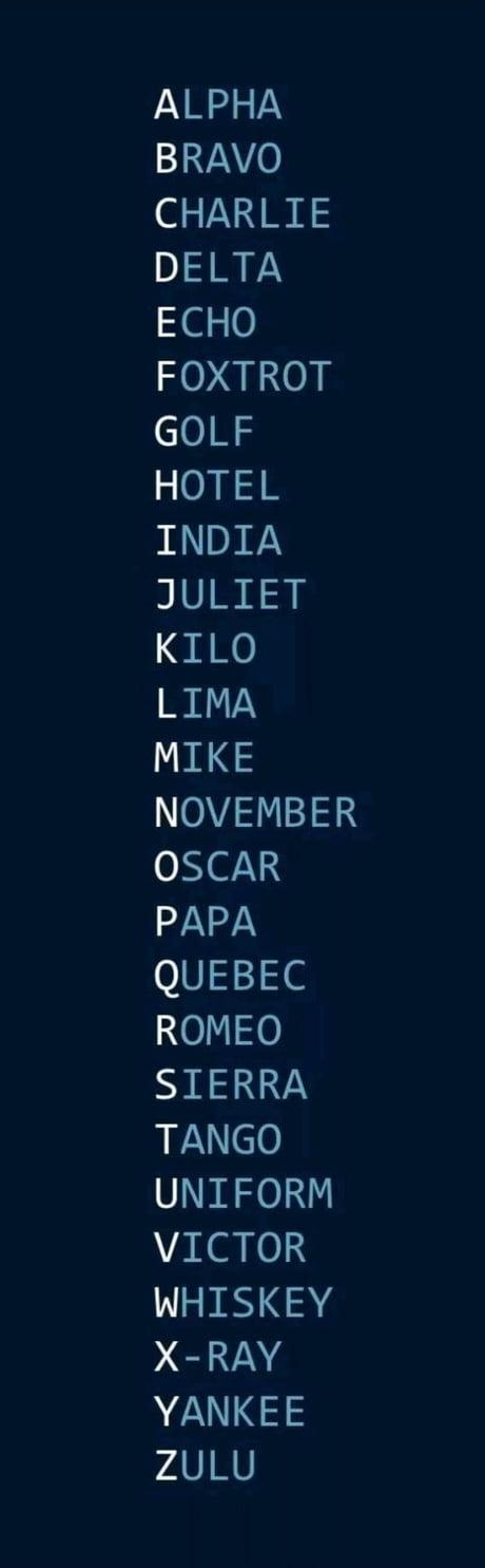Best 30 Nato Phonetic Alphabet Fun On 9gag