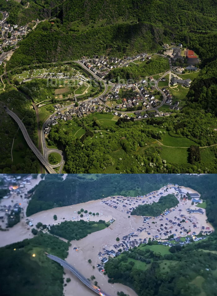 Germany experienced record breaking flashfloods yesterday with at least 20 dead and many still missing. The upper and lower image are depicting the same village before and during the flood.