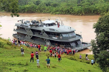 """Brazil maintains a fleet of """"hospital ships"""" that dock at riverside villages and treat locals for free"""