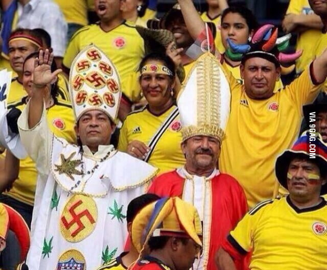Spotted at the World Cup. Columbian Weed Nazi Pope.