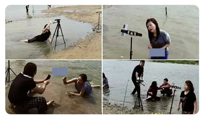 If you're a social influencer pretending to be affected by the (very real) floods in Henan, don't let people photograph you while you're doing it