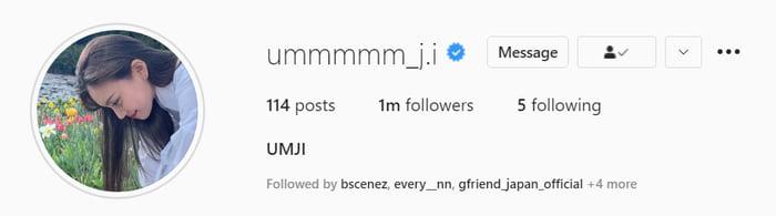 Photo : Umji has reached 1,000,000 followers on Instagram